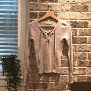 Hollister Co. taupe ribbed lace up sweater